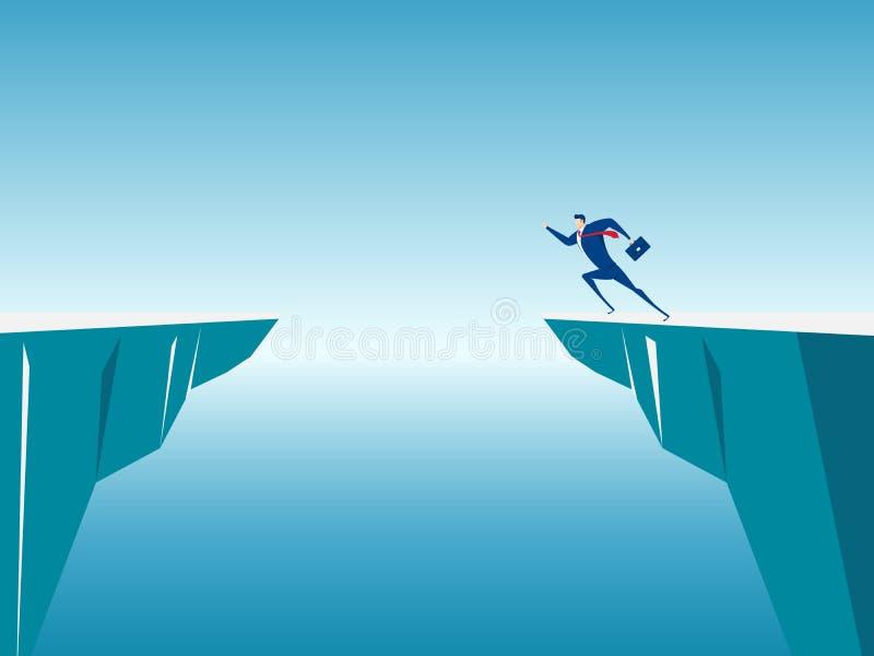 O homem de negócios salta com os obstáculos da diferença entre o monte ao sucesso ilustração do vetor