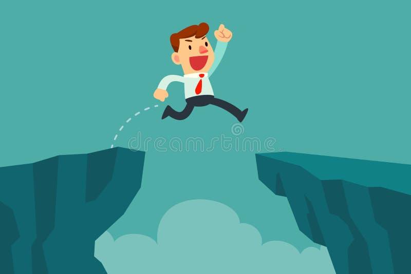 O homem de negócios salta sobre a diferença do penhasco ilustração stock