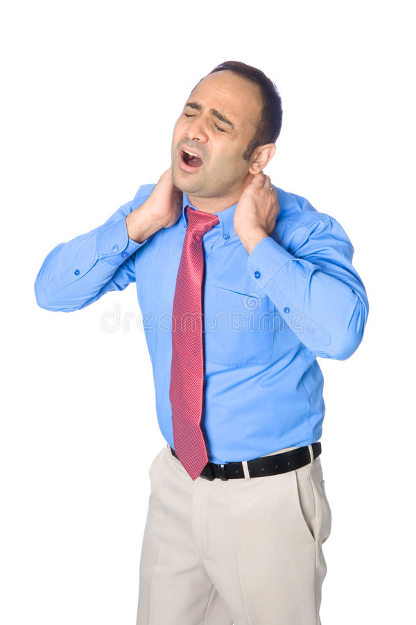 O homem de negócios sofre da dor na garganta imagens de stock