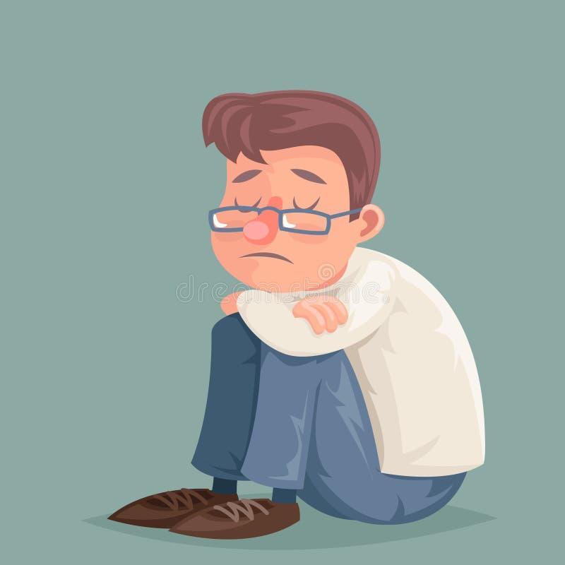 O homem de negócios sofre a ilustração melancólica do vetor do projeto dos desenhos animados do caráter do esforço da tristeza da ilustração do vetor