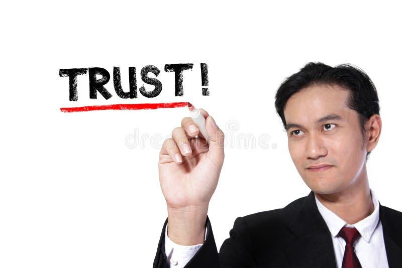 O homem de negócios sublinha a confiança fotos de stock