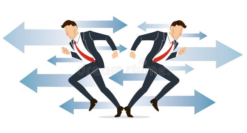 O homem de negócios tem que fazer a decisão que maneira de ir para sua ilustração do vetor do sucesso ilustração royalty free