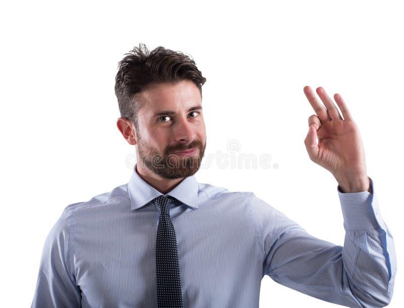 O homem de negócios tem o sucesso em casos financeiros foto de stock