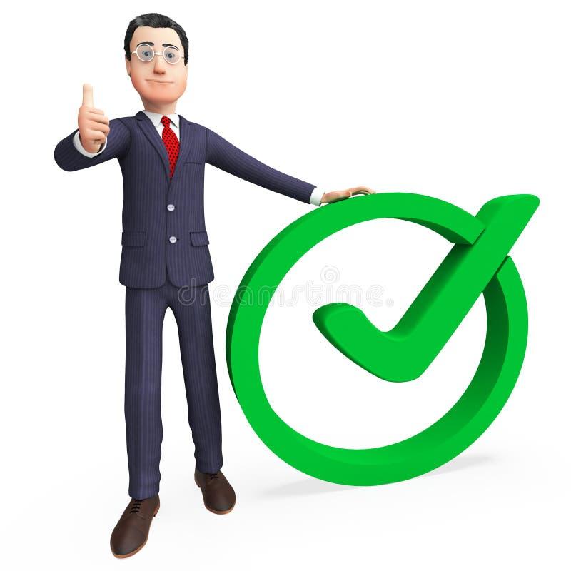 O homem de negócios With Tick Means Check Corporation And confirmou ilustração royalty free