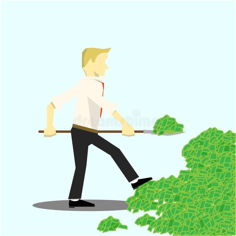 O homem de negócios toma o dinheiro com uma pá ilustração do vetor