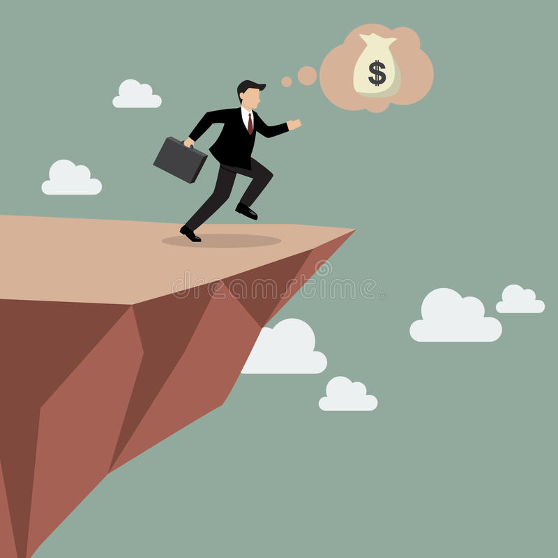 O homem de negócios toma um pulo da fé em Clifftop ilustração do vetor