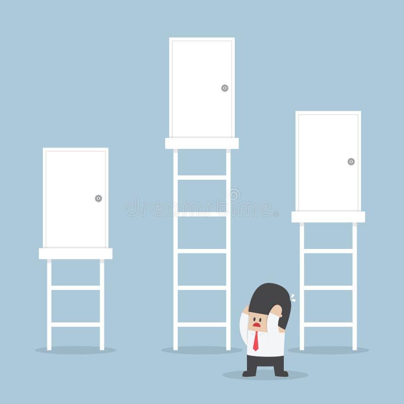 O homem de negócios toma uma decisão a escolher a porta direita ilustração royalty free