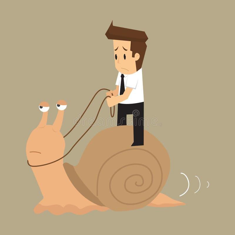 O homem de negócios trabalha lentamente como o caracol ilustração do vetor