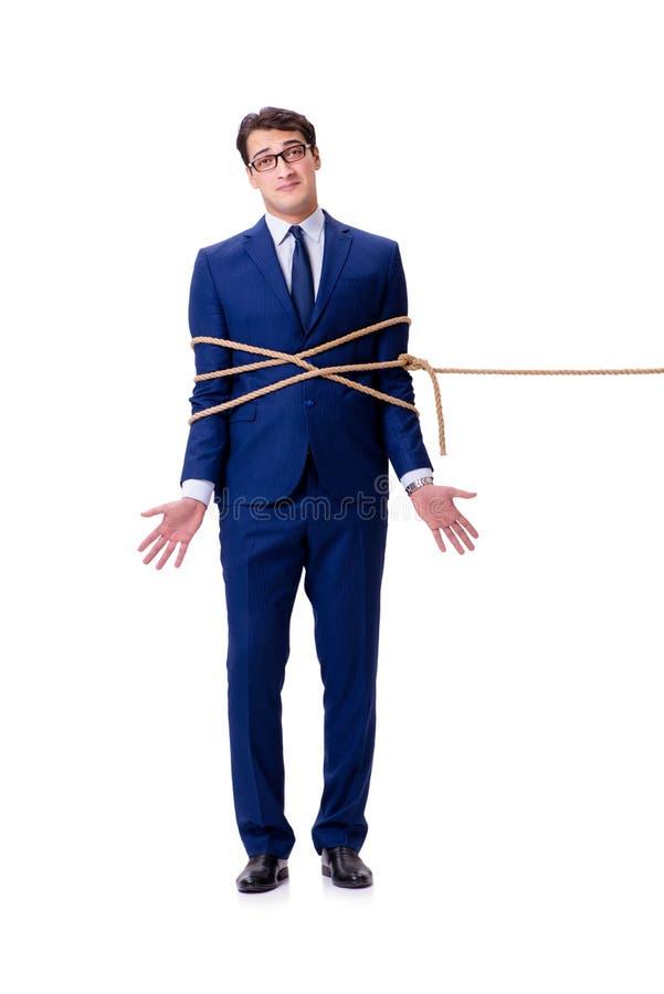 O homem de negócios travou com o laço da corda isolado no branco imagens de stock royalty free