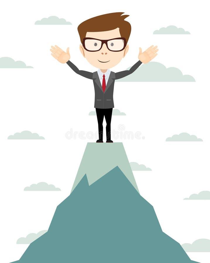 O homem de negócios vai à parte superior da montanha - vetor ilustração stock