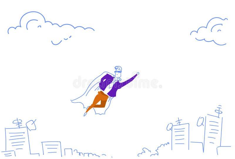 O homem de negócios vestiu o casaco do super-herói que voa acima da garatuja startup do esboço do caráter do líder da equipa do f ilustração stock