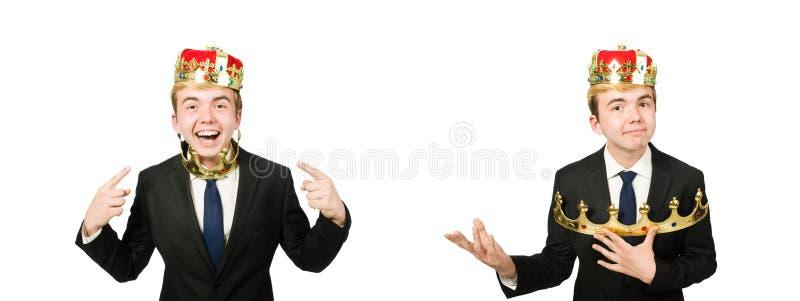 O homem de neg?cios com a coroa isolada no branco fotografia de stock