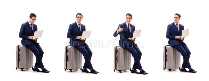 O homem de neg?cios no conceito da viagem de neg?cios isolado no branco imagens de stock royalty free