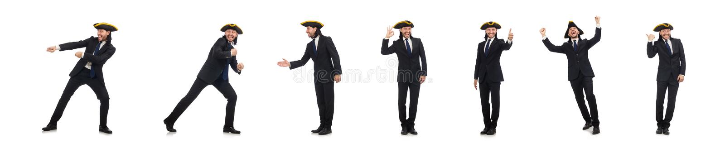 O homem de neg?cios novo que puxa a corda isolada no branco imagem de stock