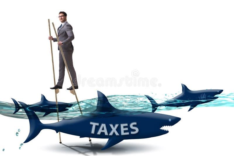 O homem de neg?cios que evita pagando impostos altos ilustração do vetor