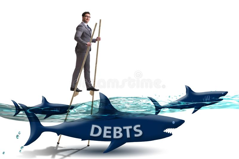 O homem de neg?cios que trata com sucesso os empr?stimos e os d?bitos ilustração royalty free
