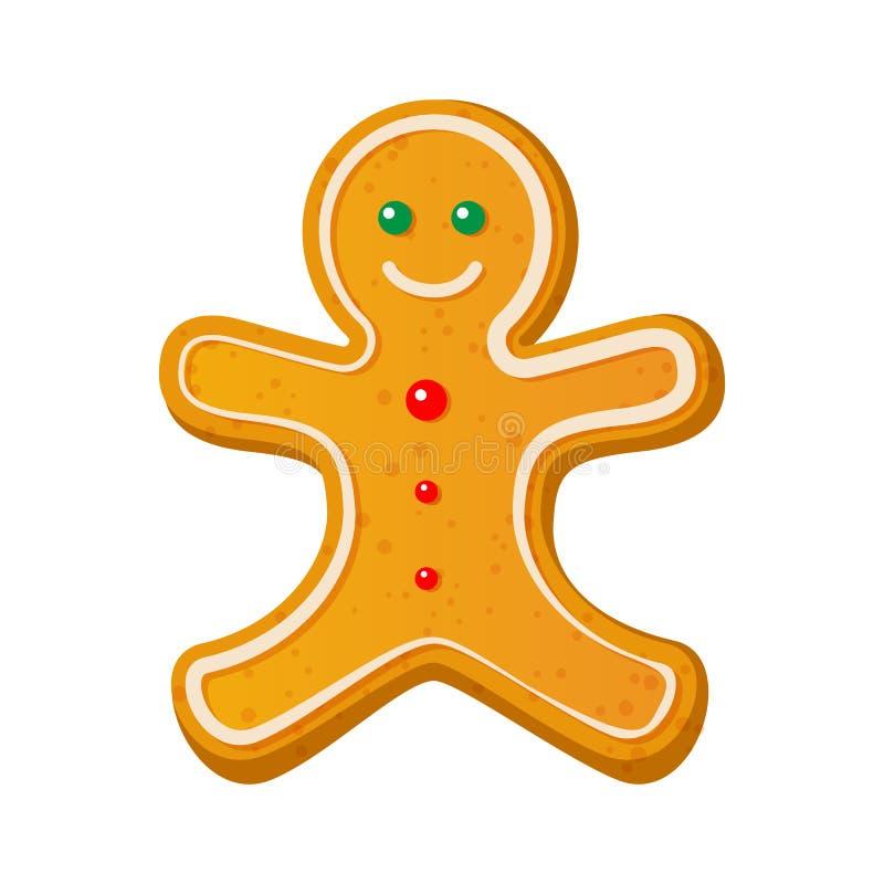 O homem de pão-de-espécie decorou a crosta de gelo colorida Cookie do feriado na forma do homem Ilustração do vetor para o Ano No ilustração royalty free