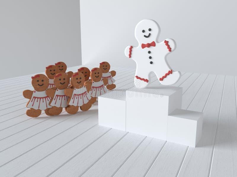 O homem de pão-de-espécie no pódio comemora a vitória no fundo dos bolos das meninas 3d rendem ilustração do vetor