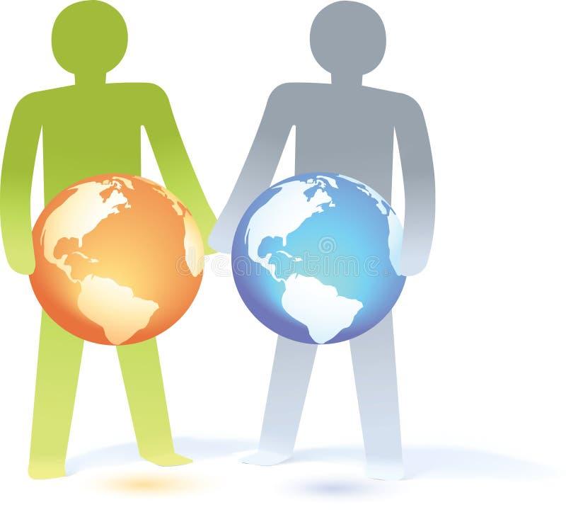 O homem de papel do _Two dos povos traz o globo ilustração stock
