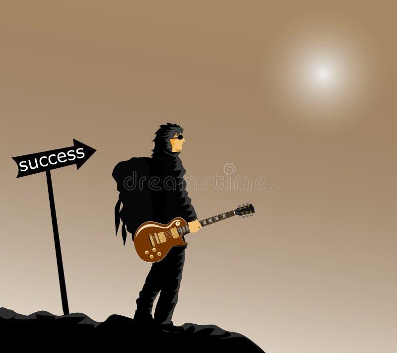 O homem de preto está carregando uma mochila nas costas na pega do violão Nas colinas pretas rotuladas ilustração royalty free