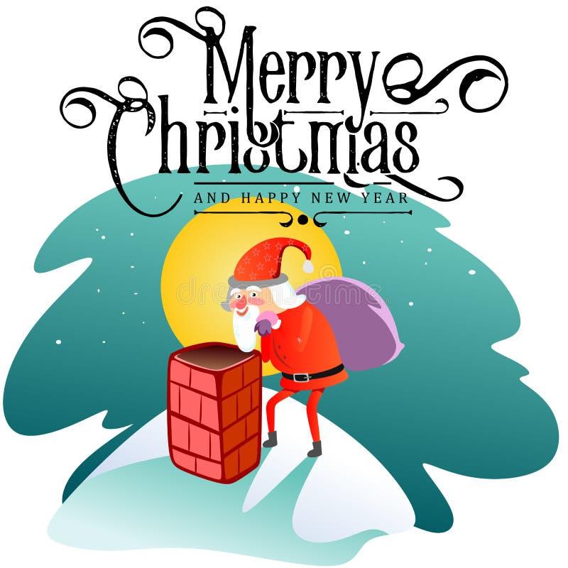 O homem de Santa Claus no terno vermelho e a barba com o saco dos presentes atrás dele escaladas na chaminé, casam-se do Natal e  ilustração royalty free