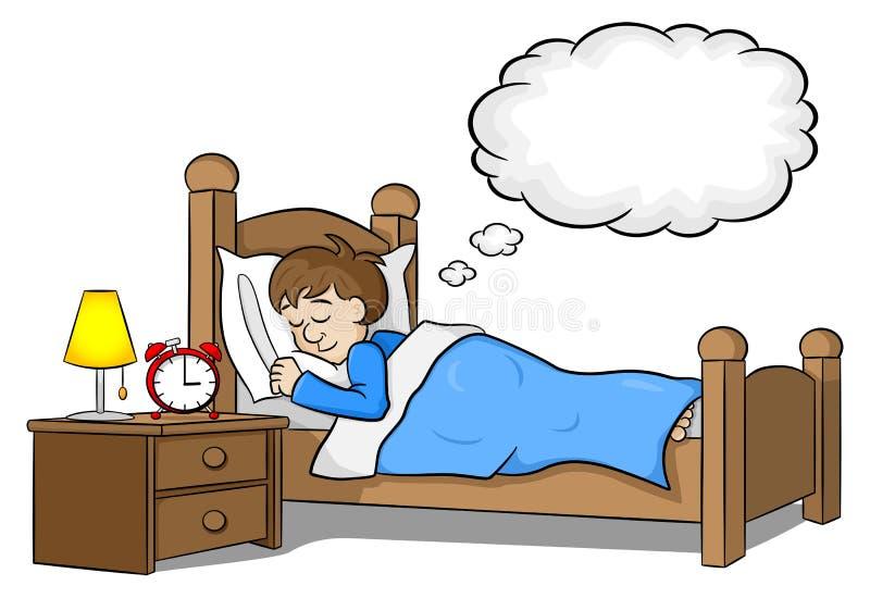 O homem de sono está sonhando ilustração royalty free