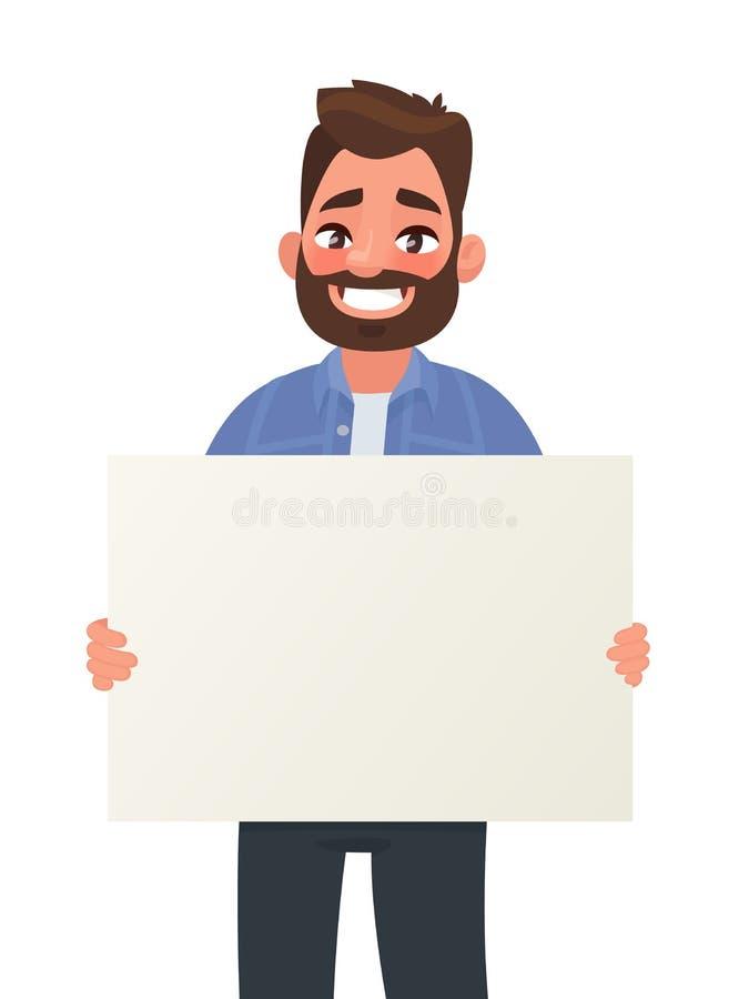 O homem de sorriso est? guardando um cartaz vazio Cartaz para anunciar Ilustra??o do vetor ilustração do vetor