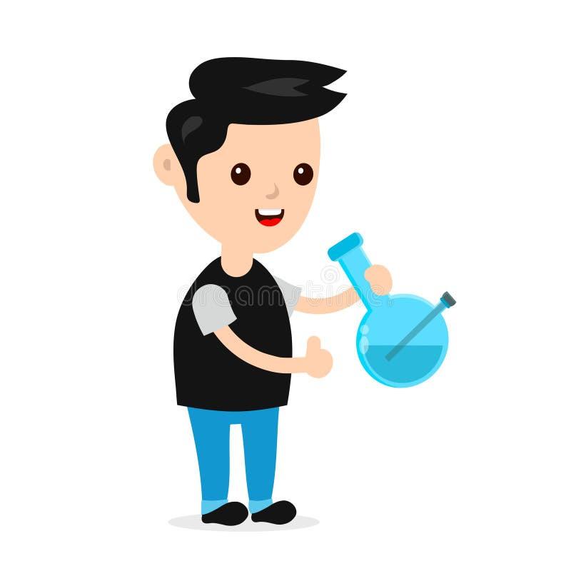 O homem de sorriso feliz novo com bong ilustração do vetor