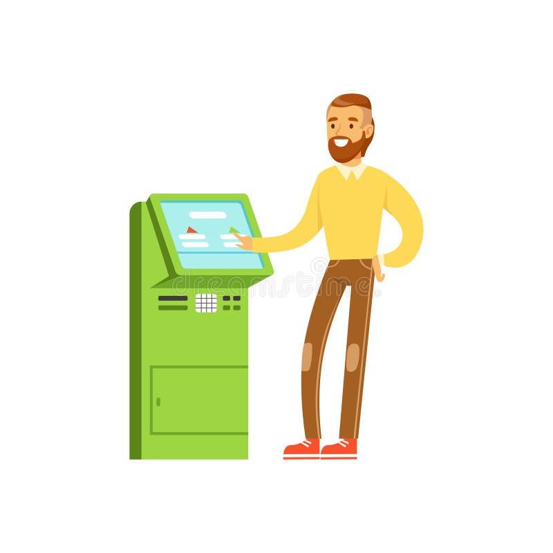 O homem de sorriso que usa o auto eletrônico presta serviços de manutenção ao terminal do pagamento, operações de execução dos po ilustração do vetor