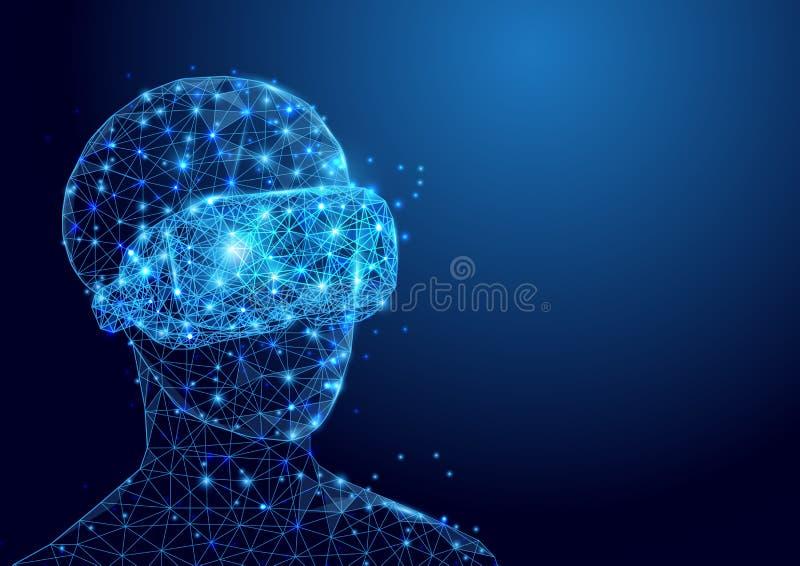 O homem de Wireframe com malha do sinal dos auriculares de VR de um estrelado e começa acima o fundo do conceito ilustração stock