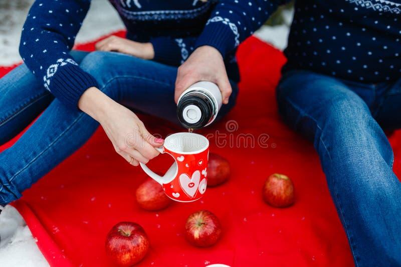 O homem derrama o chá em uma caneca com uma imagem do coração Os pares novos nas camisetas sentam-se na cobertura vermelha Piquen imagens de stock royalty free