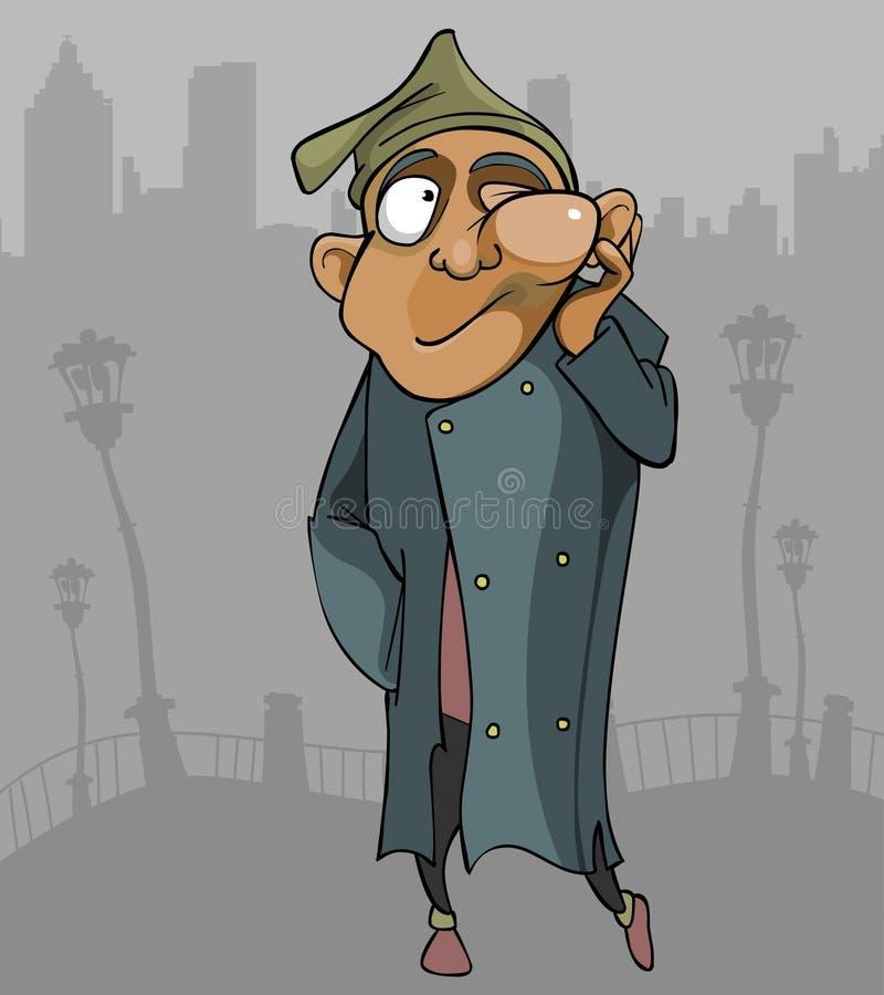 O homem desabrigado dos desenhos animados com o fluxo atravessa a cidade ilustração do vetor