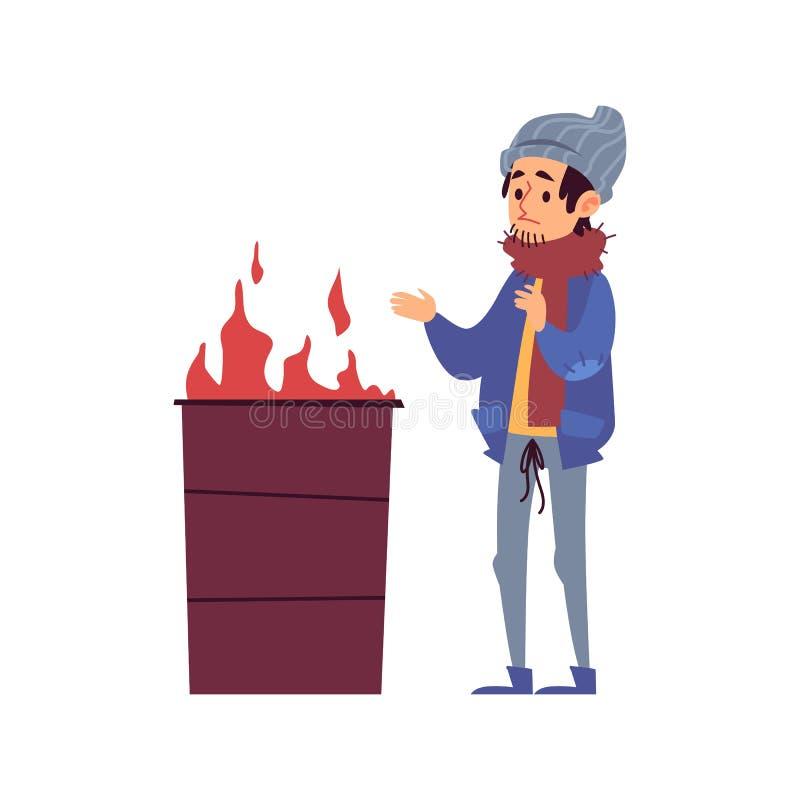 O homem desabrigado está de aquecimento suas mãos pelo fogo que queima-se no estilo dos desenhos animados do tambor ilustração do vetor