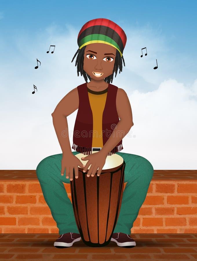 O homem do Afro joga cilindros da percussão ilustração royalty free