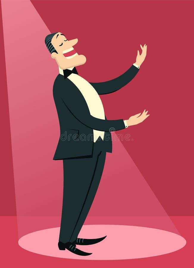 O homem do cantor de Opera canta no teatro ilustração royalty free