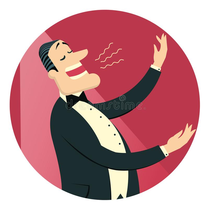 O homem do cantor de Opera no terno preto canta no teatro Vetor isolado ilustração stock