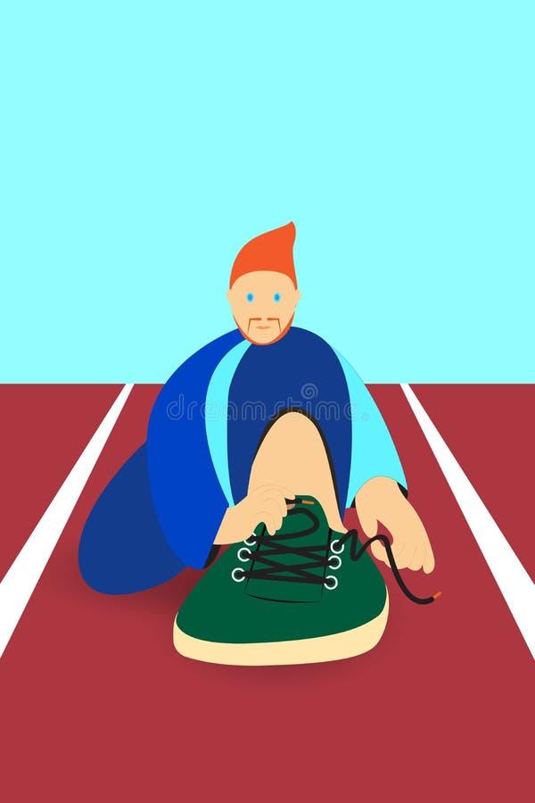 O homem do esporte da ilustração está amarrando uma sapata no corredor da trilha fotografia de stock royalty free