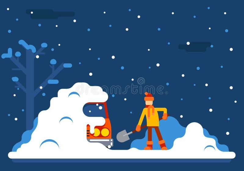 O homem do inverno escava o carro fora da ilustração lisa do vetor do projeto do fundo da neve ilustração stock
