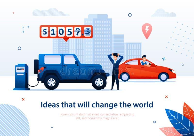 O homem do mundo da mudança da ideia conduz a vantagem do carro elétrico ilustração stock