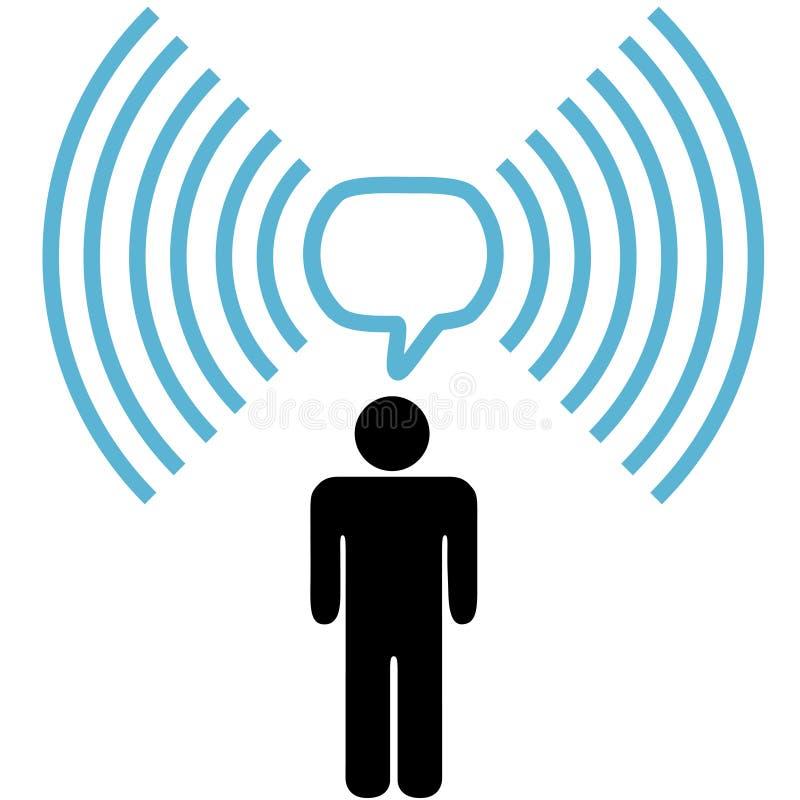 O homem do símbolo de Wifi fala na rede wireless ilustração royalty free