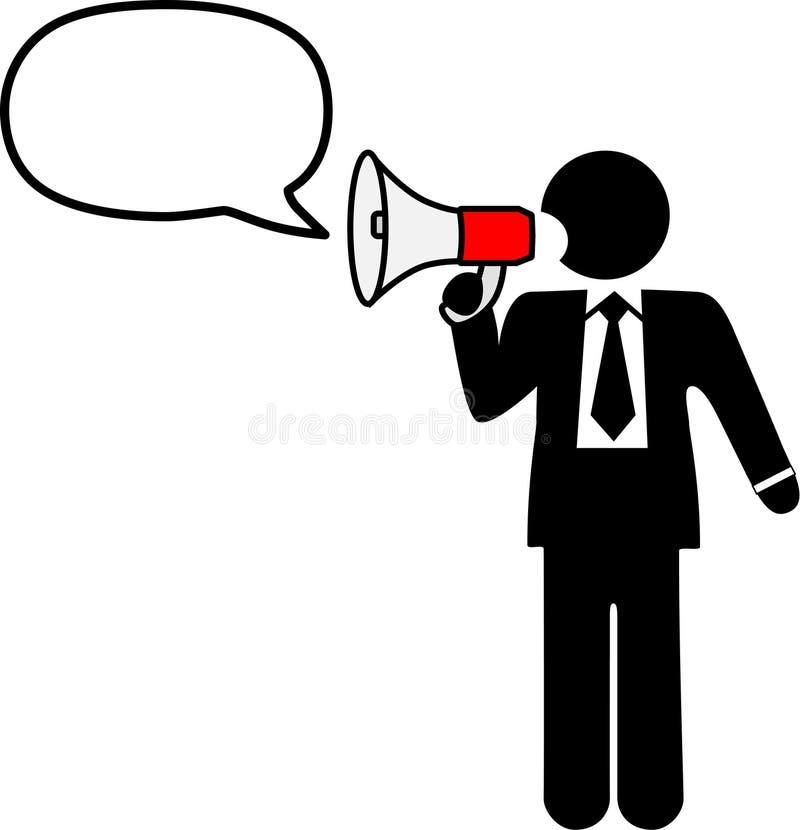 O homem do símbolo do negócio fala o megafone da conversa ilustração stock
