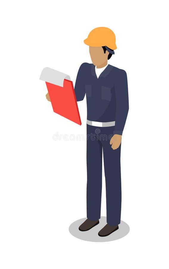 O homem do trabalhador de doca com placa de grampo faz a inspeção ilustração royalty free