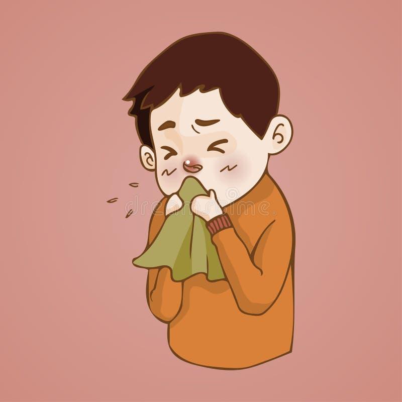 O homem doente tem o nariz ralo, frio travado espirrando no tecido, gripe, estação da alergia ilustração stock