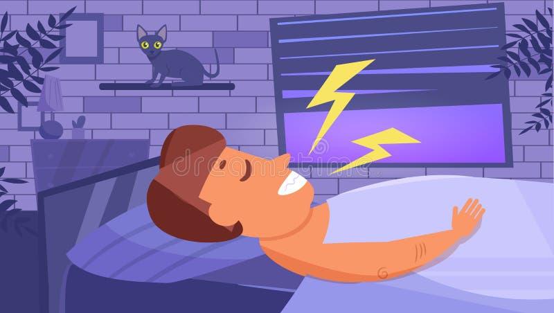 O homem dorme vetor cartoon Arte isolada liso ilustração royalty free