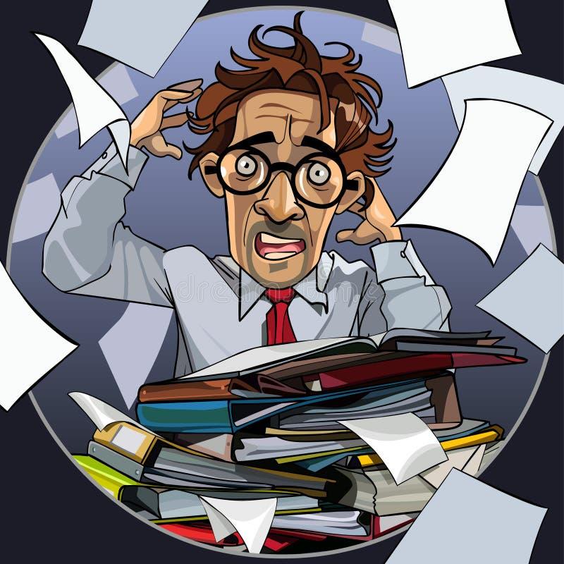 O homem dos desenhos animados é histérico com os dobradores dos papéis ilustração stock