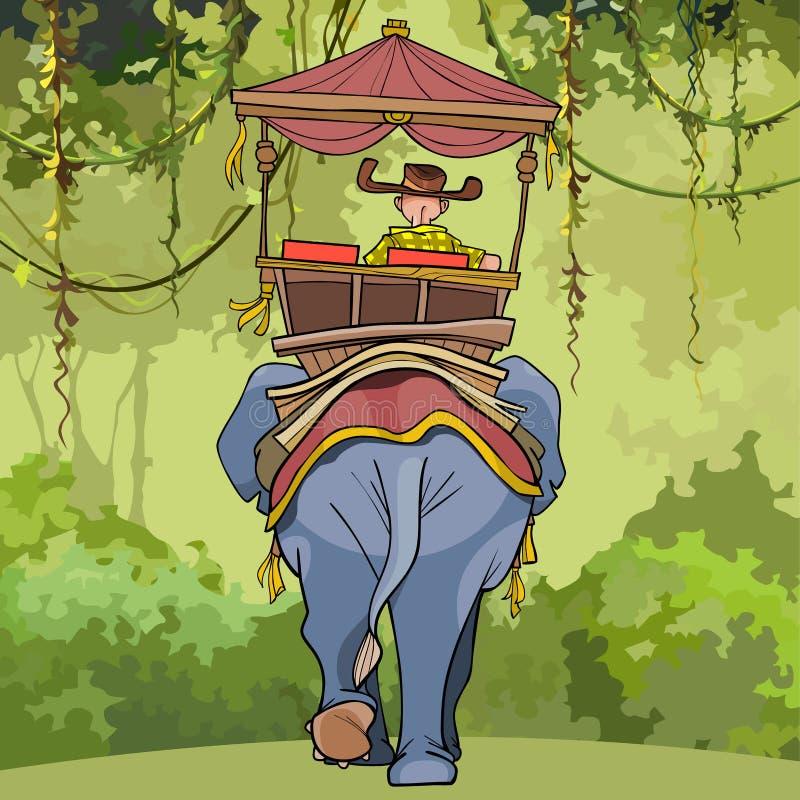 O homem dos desenhos animados monta um assento em um elefante ilustração royalty free