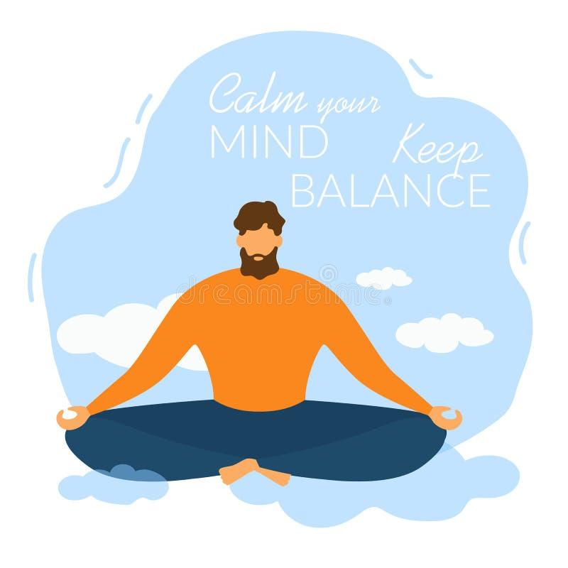 O homem dos desenhos animados para meditar para acalmar sua mente mant?m o equil?brio ilustração stock