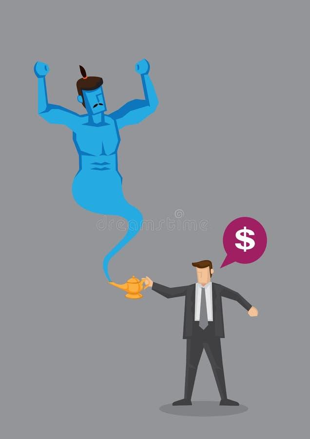 O homem dos desenhos animados pede o dinheiro dos gênios mágicos da lâmpada ilustração royalty free