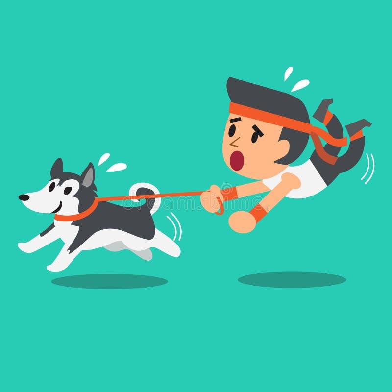 O homem dos desenhos animados puxou por seu cão do cão de puxar trenós siberian ilustração stock