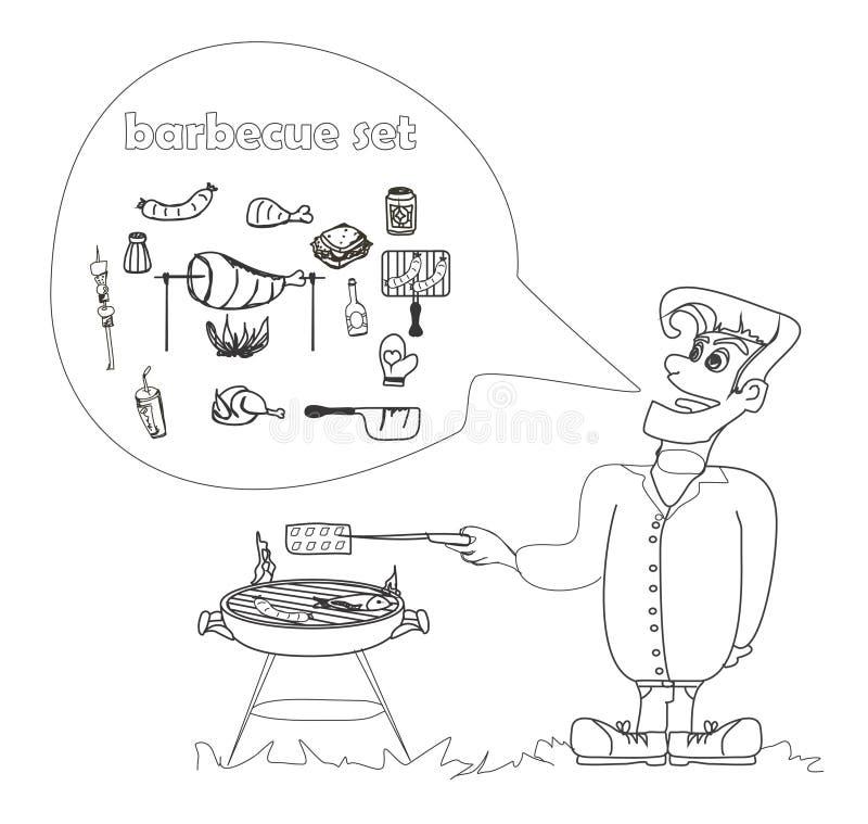 O homem dos desenhos animados vestiu-se em grelhar o vestuário que cozinha a carne. ilustração royalty free
